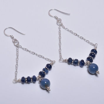 """3"""" Simple Everyday Handmade 925 Sterling Silver Genuine Natural Blue Sapphire Rounds Beads Hook Dangle Earrings Vintage Jewelry,Gift for HER"""