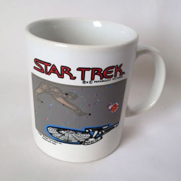 Star Trek Coffee Cup Mug USS Enterprise Galaxy Science Fiction 1992 Vintage