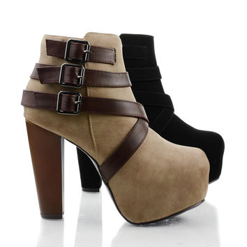 Belter by Speed Limit 98, Women Ankle Booties on Chunky Block Heel & Criss Cross Straps