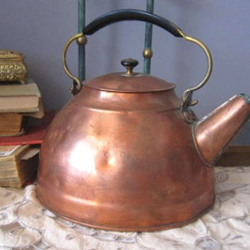 Copper TEAPOT with Character Decor Copper Kettle Teapot a primitive tea pot Kettle
