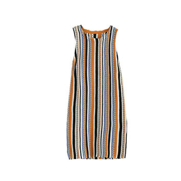 KNIT STRIPES SLEEVELESS DRESS