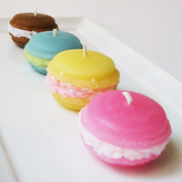 FRENCH MACARON CANDLES - Set of 4 - Assorted Fruit & Coffee Scented