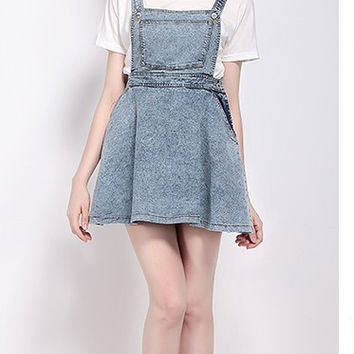 Washed Denim Retro Dresses A-Line With Pocket Dresses Strape High Waist Dresses