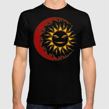 Smiling Sun Eclipsing the Moon T-shirt by Fringeman