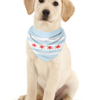 Chicago Flag Dog Bandana - Chicago dog bandana - designer dog bandana - made in Chicago - bandana for dogs - Chicago pet products