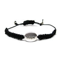 Hope Charm Friendship Macrame Stackable Bracelet Inspirational Bracelet Black Hemp Womens Teen Gift Ready To Ship