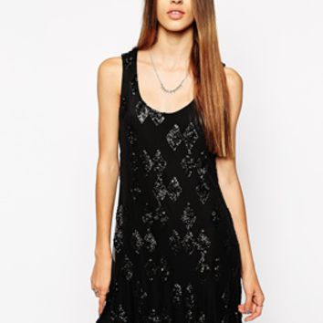 Religion Cue Mini Dress - Jet black