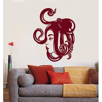 Vinyl Wall Decal Asian Girl Face Sea Octopus On The Head Stickers (2867ig)