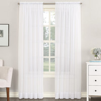 Sheer Voile Rod Pocket Curtain Panel