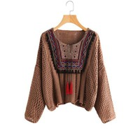 Tasseled Tie Embroidered Sweater
