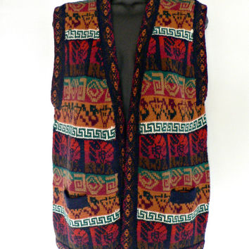 100% Alpaca Wool Sweater Vest - Made in Peru - Southwestern Native American Tribal - Women's