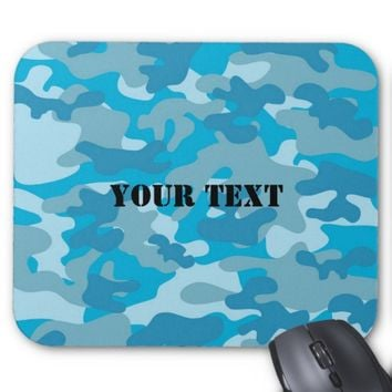 Pretty Blue Camouflage Pattern Mouse Pad
