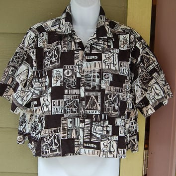 Vintage 80s Esprit Sport Black & White Jazz Blues Themed Oversized Boxy Cropped Button Up Shirt Size Medium