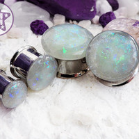 """Fauxpal White Iridescent Faux Opal Plug / Gauge ONE Plug Only 3/4"""", 7/8"""", 1"""" / 19mm, 20mm, 22mm, 24mm, 25mm"""