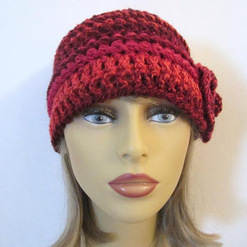 Crochet Beanie Hat in Shades of Red - Womens Flower Hat