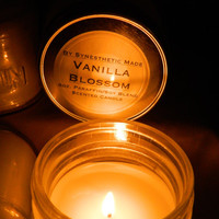 Vanilla Blossom Candle, Vanilla Scented, 8 oz Mason Jar, White, Paraffin/Soy Blend, Container Candle