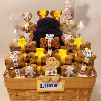 Custom birthday dog biscuit treat gift basket with squeak toy, unique gift, personalized, yellow, purple, flowers