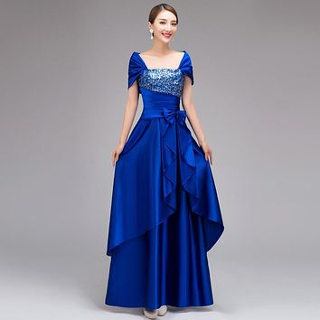 new 2017 summer blue flower Sequined Crystal paillette long embroidery formal bridesmaid dress