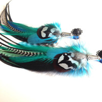 0g Feather Plugs, Dangle Plugs Blue Green Black Grizzly Real Feather Gauges Dangle Long Feather Earrings for GAUGED EARS (2g 00g available)