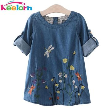 Keelorn Girls Denim Dress Children Clothing Casual Style Girls Clothes Butterfly Embroidery Dress Kids Clothes 2017 Spring
