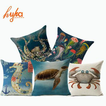 Hyha Turtle Crab Cushion Cover SeaHorse Jellyfish Sea Blue Style Home Decorative Pillows Cover for Sofa Feeling of Comfortable