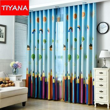 Cartoon Colorful Pencil Window Curtains For Kids Bedroom Blackout Finished Product Cortinas For Boys Gilrs Living Room WP178&20