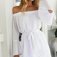 Drawn Together Long Bell Sleeve Off The Shoulder Tie Waist Lace Trim Mini Dress