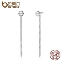 925 Sterling Silver Simple Long Tassel Drop Earrings with Pearl for Women Engagement Jewelry SCE011