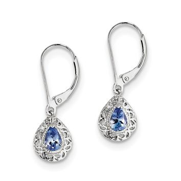 Sterling Silver Genuine Pear Tanzanite Filigree Lever Back Earrings