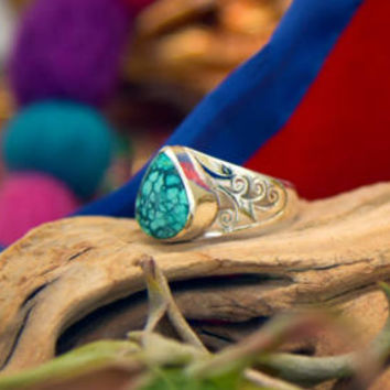 Unique Turquoise Stone Hand Carved Sterling Silver Fashion Ring/ Handmade Polished Turquoise Stone Statement Jewelry