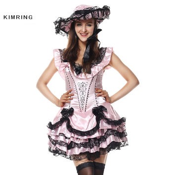 KIMRING DELUXE PRINCESS BELLE HALLOWEEN COSTUME SOUTHERN BEAUTY AND THE BEAST COSPLAY GOTHIC LOLITA FANCY DRESS CARNIVAL PARTY