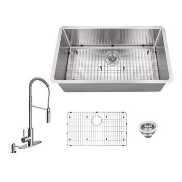 All-in-One Undermount Stainless Steel 32 in. Single Bowl Kitchen Sink with Polished Chrome Kitchen Faucet-IPTRA3219SBP7556CP - The Home Depot