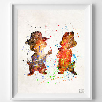 Chip and Dale Print, Wall Art, Watercolor, Disney Poster, Wall Decor, Children Room Decor, Disney Theme Poster, Fathers Day Gift
