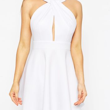 John Zack Petite Twist Neck Halter Dress