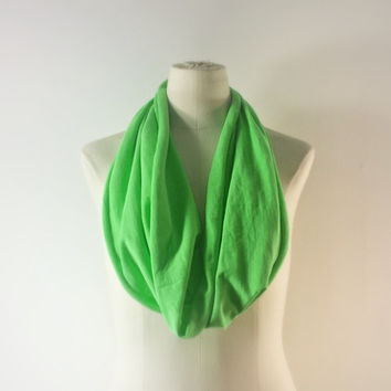 NEON GREEN Cowl Neck Scarf - Infinity Scarf - Cotton Scarf - Safari Green - Available in Many Colors