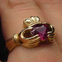 Gold ruby claddagh ring in 10kt 14kt 18kt - Available in yellow gold, rose gold and white gold