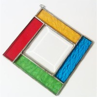 Vintage Handmade Stained Glass Mobile, Beveled Glass, Red Yellow Blue & Green
