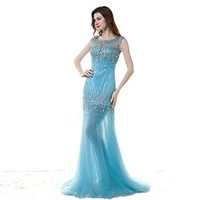 Sky blue Beaded Tulle wedding dresses Crystal Bridal dress Bridesmaids Evening Prom Dresses