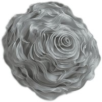 Hayley Rose Chiffon Decorative Throw Pillow - 16 Inch Round - Silver
