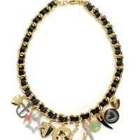 Multi Charm Leather & Chain Necklace by Juicy Couture