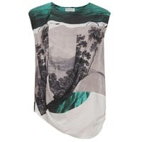 Dries Van Noten Carlines Draped Photo-Print Top