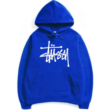 Stussy couple sets the head sweater couple models Plus velvet hooded sweater simple printing class service blue