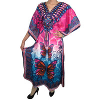 Mogulinterior Bohemian Kaftan Blue Pink Butterfly Printed Beach Wear Cover up Caftan Gift Idea