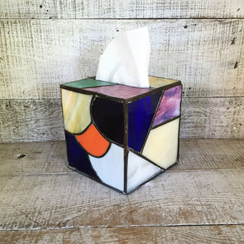 Tissue Box Cover Stained Glass Tissue Box Cover Vintage Square Tissue Box Holder Decorative Kleenex Box Cover Glass Tissue Cover Handmade