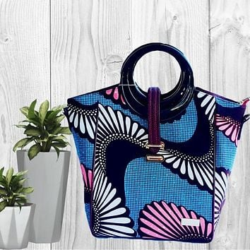 Cosmo African Print Top Handle Tote  Bag Blue