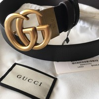 Reversible GUCCI Belt GOLD GG Marmont Buckle BLACK / BROWN size 80/32 fits 26-28