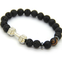 Men's Barbell & Lava Stone Bracelet 8mm Beads Fitness Fashion