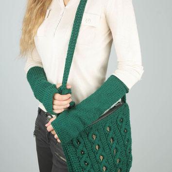 Crochet purse and oversleeves Handmade free pattern Designer handbag Unique idea