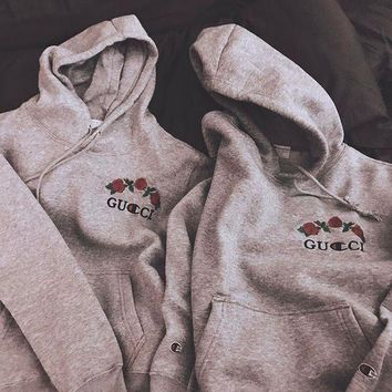 GUCCI Champion Flower Rose Embroidery Hooded Pullover Tops Sweater Sweatshirts F