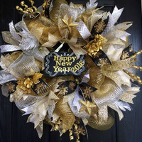 New Years Deco Mesh Wreath, New Years  Eve deco mesh wreaths, New Year's wreath, New Year's Eve wreath, New Year's Mesh Wrea
